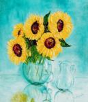 Zonnebloemen op spiegel